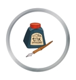 Dip pen with inkwell icon in cartoon style vector image vector image