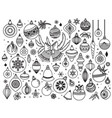 doodle set of christmas decoratins vector image vector image
