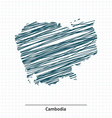 Doodle sketch of Cambodia map vector image vector image