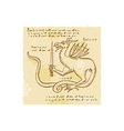 Dragon Holding Sword Etching vector image vector image