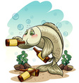 Drunk fish under the sea vector image vector image