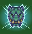 green tiger head mascot logo vector image vector image