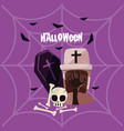 halloween card with death coffin vector image