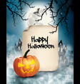 halloween spooky background with old paper vector image vector image