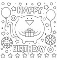 happy birthday coloring page vector image vector image