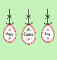happy easter day text sign on hanging easter eggs vector image vector image