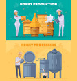 honey production cartoon horizontal banners vector image vector image