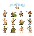 Hunters on isolated background vector image