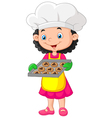 Litte girl holding baking tray with baking ready t vector image