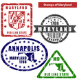 Maryland in stamps vector image