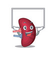mascot design human spleen lift up a board vector image vector image
