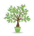 money tree in green ceramic pot green cash vector image vector image