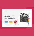 movie making process landing page template vector image vector image