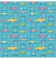 Moving houses on cars seamless pattern background vector image