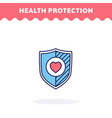 protection shield with heart flat icon vector image