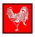 red cutout Silhouette zodiac symbol of rooster vector image