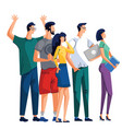rejoicing office workers are standing together vector image