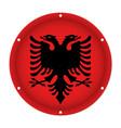 round metallic flag of albania with screw holes vector image vector image