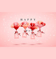 sale happy valentines day background red pink vector image vector image