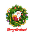 santa with christmas gifts in frame xmas wreath vector image vector image