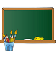 School Chalkboard And Pencil Cup vector image