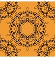 Seamless mandala in outlines on orange background vector image vector image