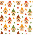 seamless pattern with dogs and leaves vector image