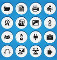 set of 16 editable office icons includes symbols vector image vector image
