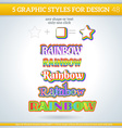 Set of Rainbow Graphic Styles for Design vector image
