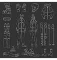 Ski and snowboard icons set vector image vector image