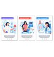 social media landing page set for diabetes control vector image vector image