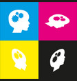 thinking head sign white icon with vector image vector image