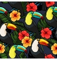 Toucan and hibiscus seamless vector image vector image