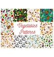 Vegetables herbs mushrooms seamless patterns set vector image vector image