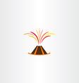 Volcano lava explosion icon symbol