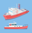 water transport ferry with lifebuoy set vector image