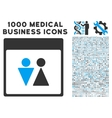 WC Persons Calendar Page Icon With 1000 Medical vector image vector image