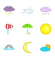 Weather icons set cartoon style vector image vector image