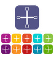 wheel wrench cross icons set vector image vector image