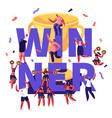 winner concept with cheerleaders team making vector image