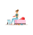 young woman trying on shoes girl shopping in a vector image vector image