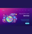 24 7 service concept landing page vector image vector image