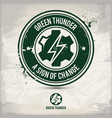 alternative green thunder stamp vector image vector image