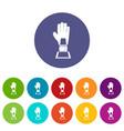 baseball glove award icons set flat vector image vector image