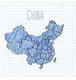 Blue pen hand drawn China map on paper vector image vector image