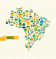 brazil lifestyle map sport and culture icon set vector image vector image