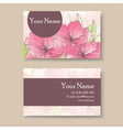business card with pink flowers vector image vector image