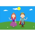 Cartoon characters of princess and prince on green vector image vector image