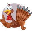 cartoon turkey holding thumbs up doing ok sign vector image vector image