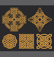 celtic cross and knot set ethnic ornament vector image